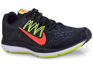 Tênis Masculino Nike Aa7406-004 Zoom Winflo 5 Preto/limão/vermelho - Tamanho Médio