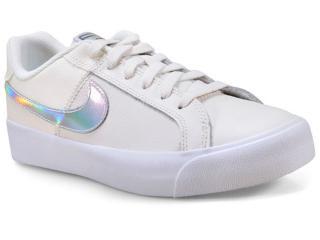 Tênis Feminino Nike Ao2810-104 Court Royale ac Off White/prata - Tamanho Médio