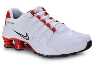 Tênis Masculino Nike 378341-110 Shox nz Branco/vermelho - Tamanho Médio