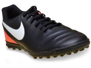 Tênis Masculino Nike 819237-018 Tiempo Rio Iii Preto/laranja - Tamanho Médio