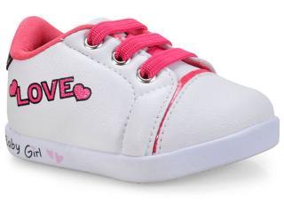 Tênis Fem Infantil Pampili 108.085 Branco/pink - Tamanho Médio