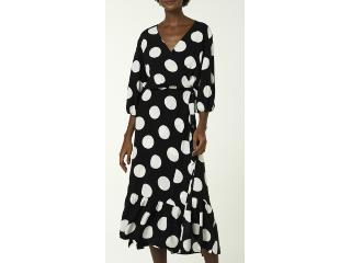 Vestido Feminino Hering Ha63 1ben Preto/branco Poa - Tamanho Médio