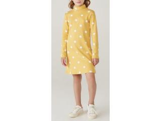 Vestido Feminino Hering Kids 5awt 1ben Amarelo Poa - Tamanho Médio