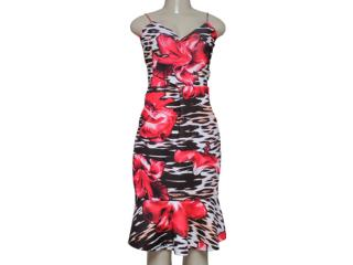 Vestido Feminino Morena Rosa 103633 Estampado Preto/vermelho - Tamanho Médio