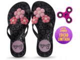 Tamanco Fem Infantil Grendene 21809 Barbie Spinner Preto/prata/rosa